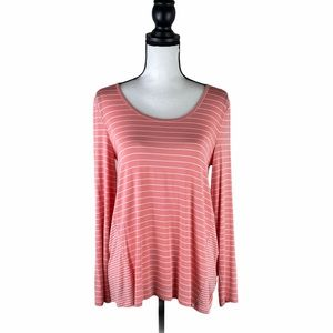CUPIO pink & white striped long sleeves blouse NWT